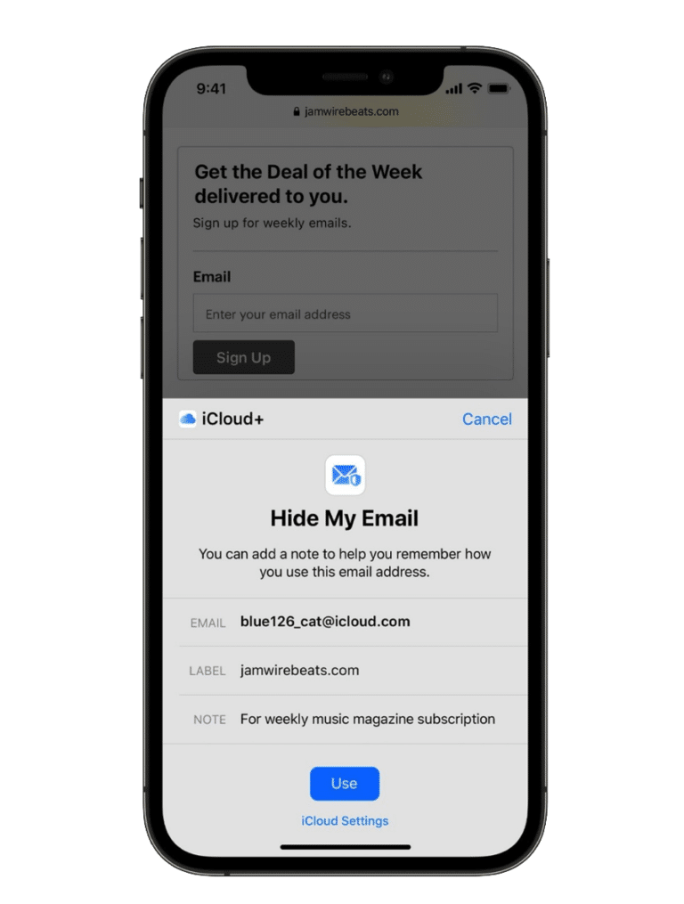 apple ascunde email